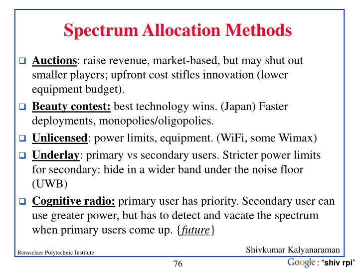 Spectrum Allocation Methods