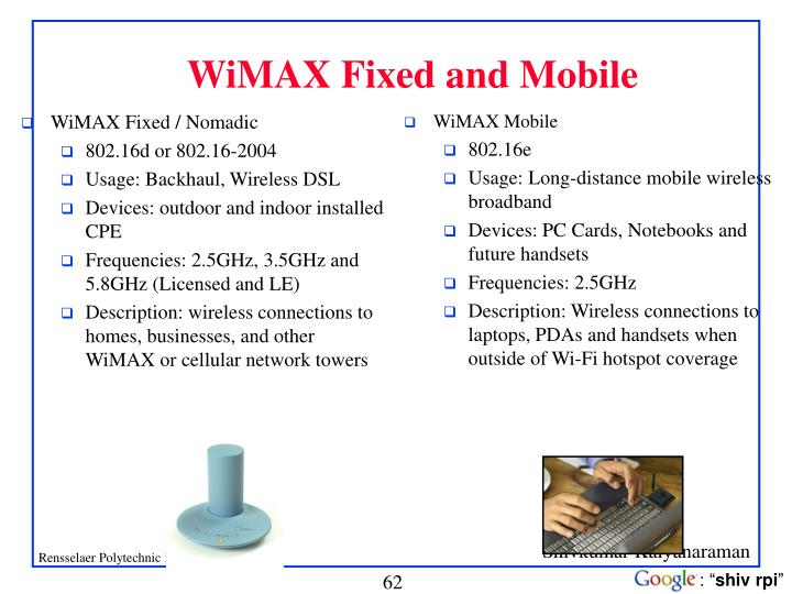 WiMAX Fixed / Nomadic