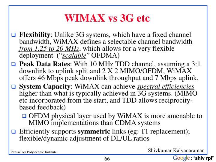 WIMAX vs 3G etc