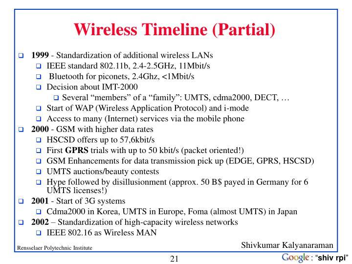 Wireless Timeline (Partial)