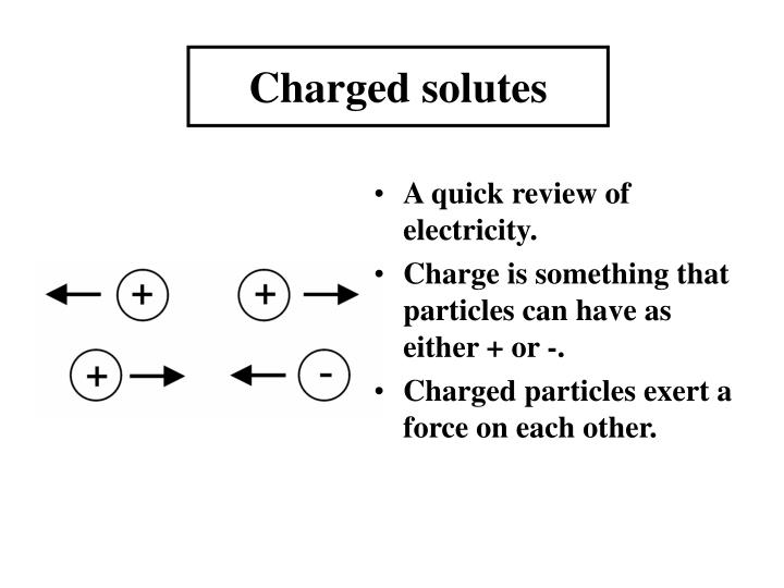 Charged solutes