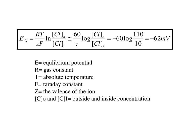E= equlibrium potential