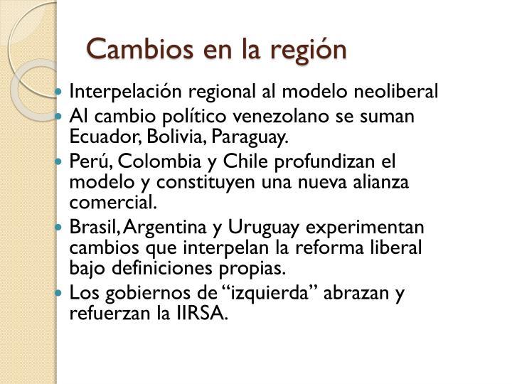 Cambios en la región