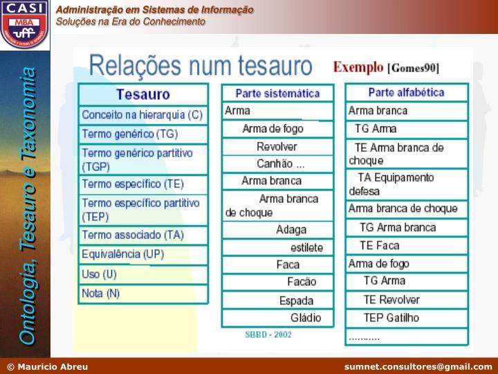 Ontologia, Tesauro e Taxonomia