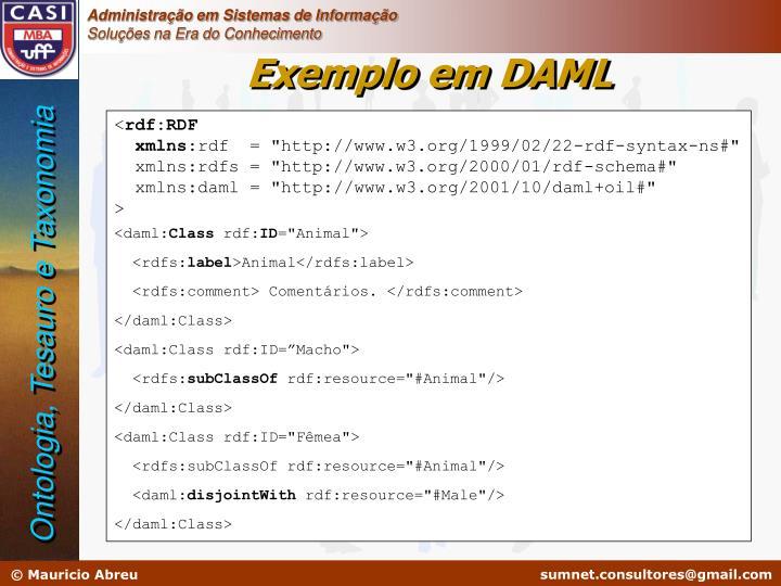 Exemplo em DAML