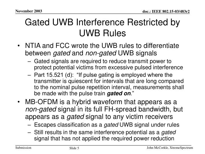 Gated UWB Interference Restricted by UWB Rules