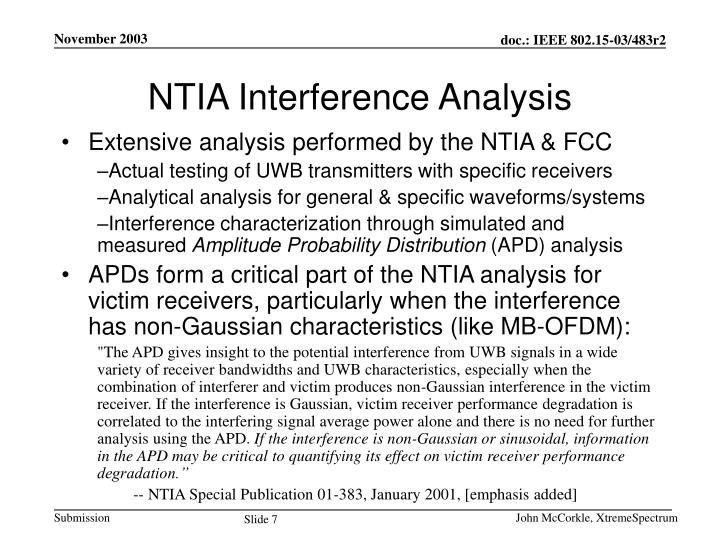 NTIA Interference Analysis