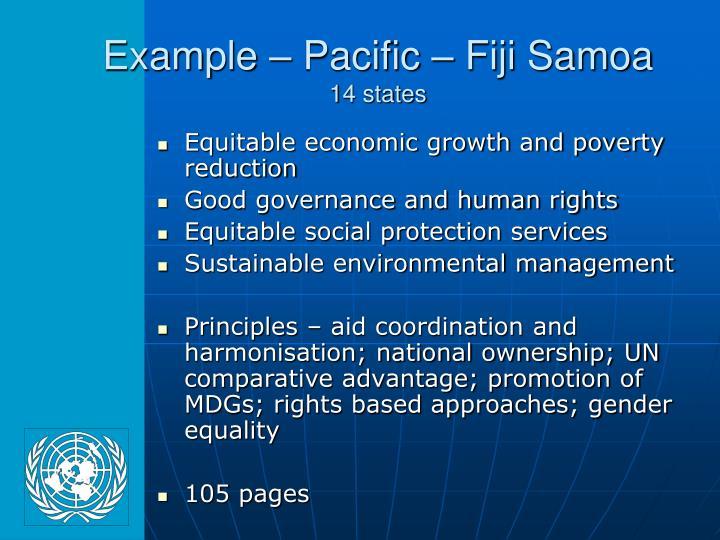 Example – Pacific – Fiji Samoa