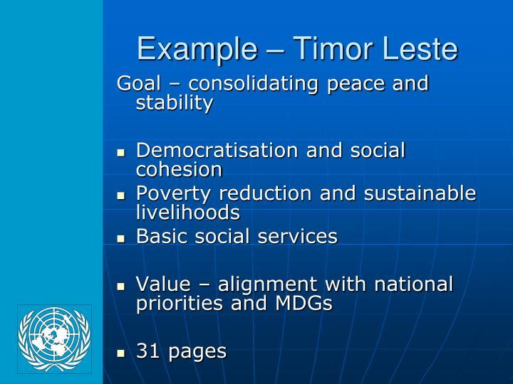 Example – Timor Leste