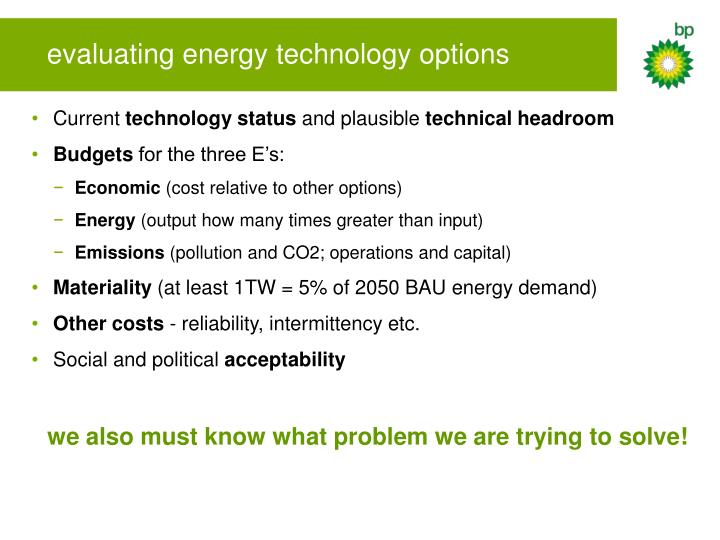 evaluating energy technology options