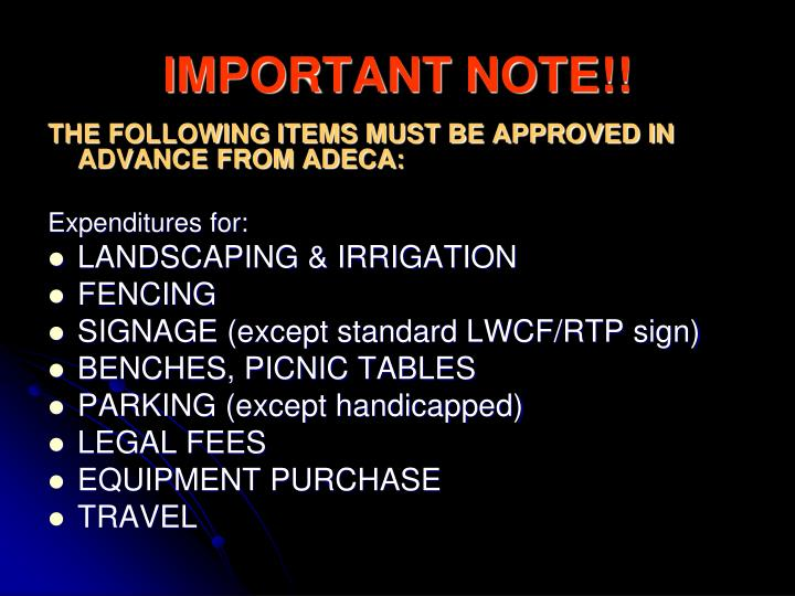 IMPORTANT NOTE!!