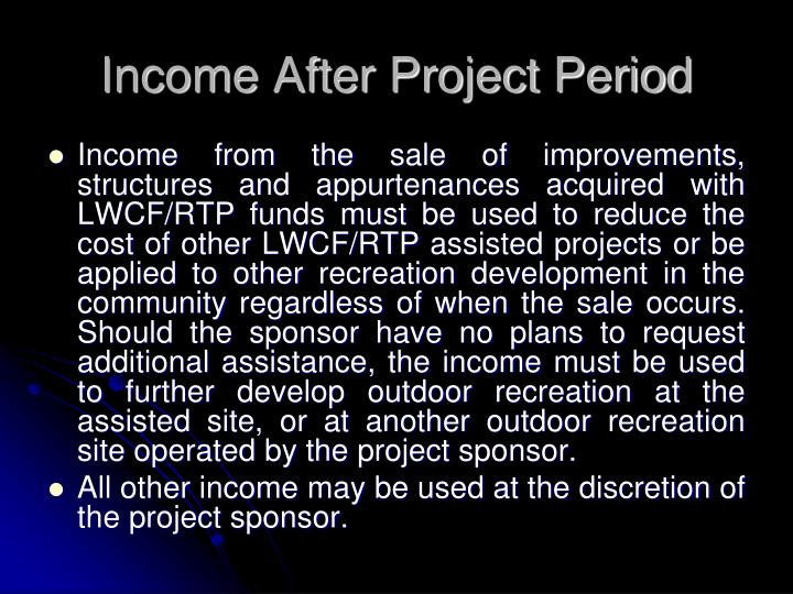 Income After Project Period