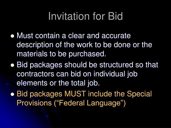 Invitation for Bid