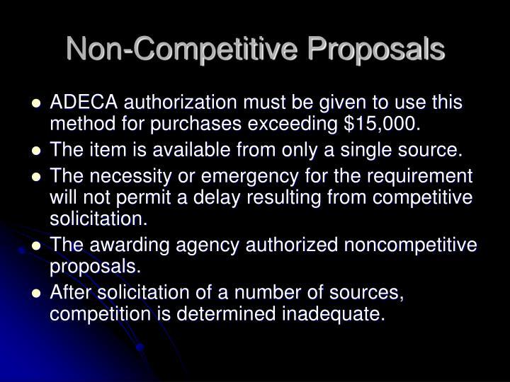 Non-Competitive Proposals