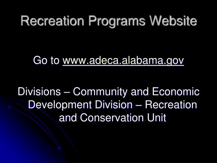 Recreation Programs Website