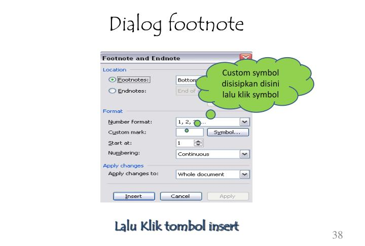Dialog footnote