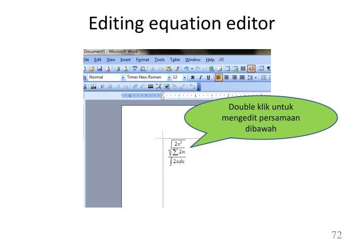 Editing equation editor