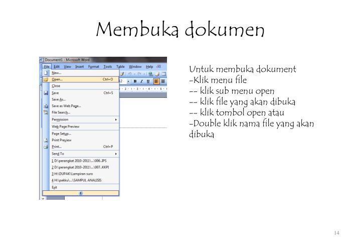 Membuka dokumen