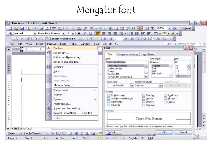 Mengatur font