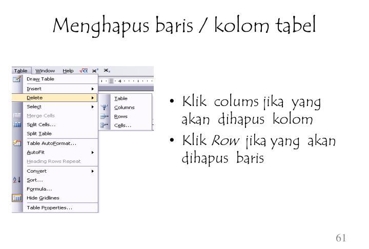 Menghapus baris / kolom tabel