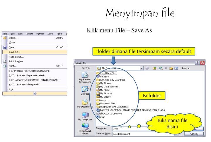 Menyimpan file