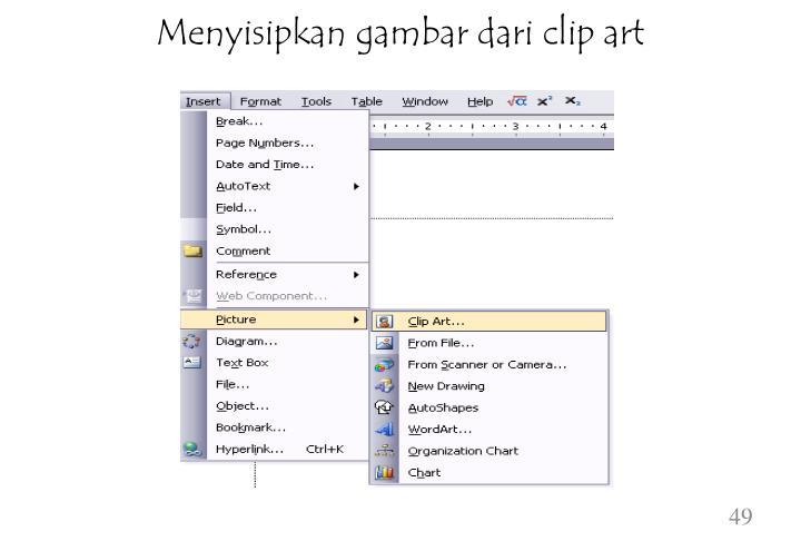 Menyisipkan gambar dari clip art
