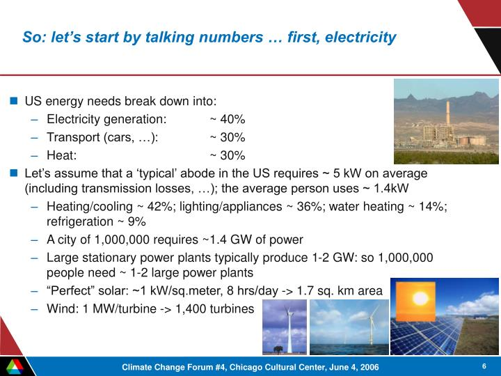 So: let's start by talking numbers … first, electricity