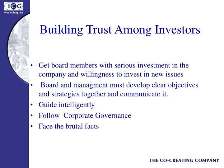 Building Trust Among Investors