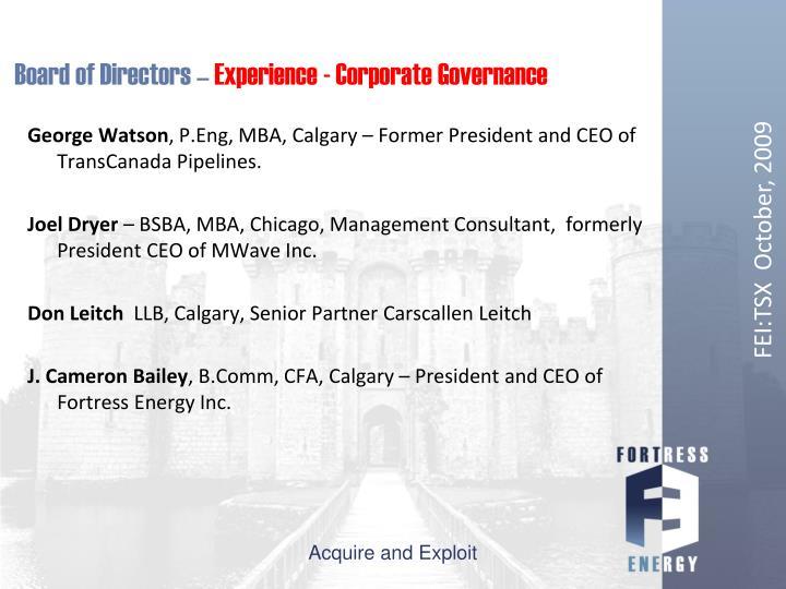 Board of Directors –