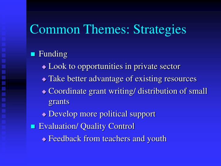 Common Themes: Strategies
