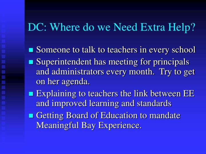 DC: Where do we Need Extra Help?