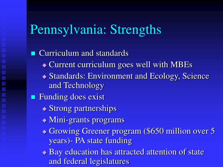 Pennsylvania: Strengths