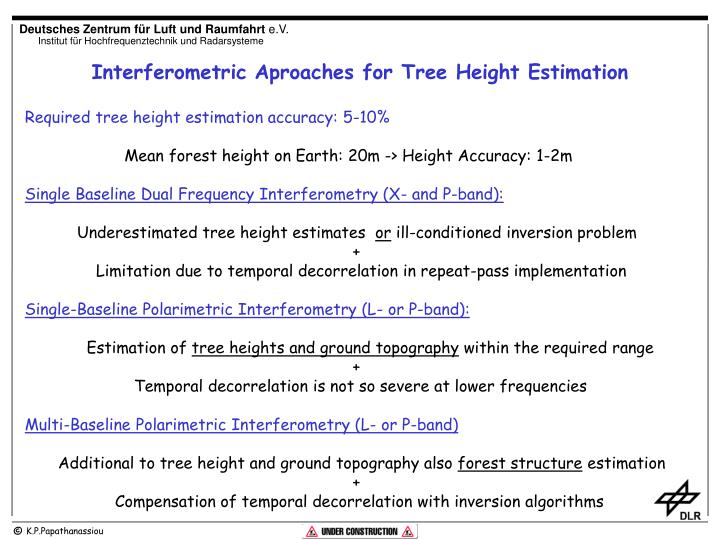 Interferometric Aproaches for Tree Height Estimation