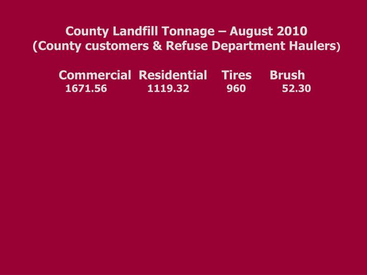County Landfill Tonnage – August 2010
