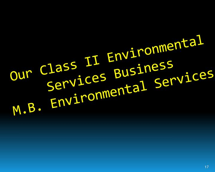 Our Class II Environmental Services Business
