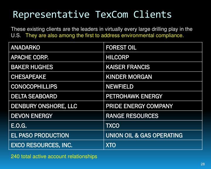 Representative TexCom Clients