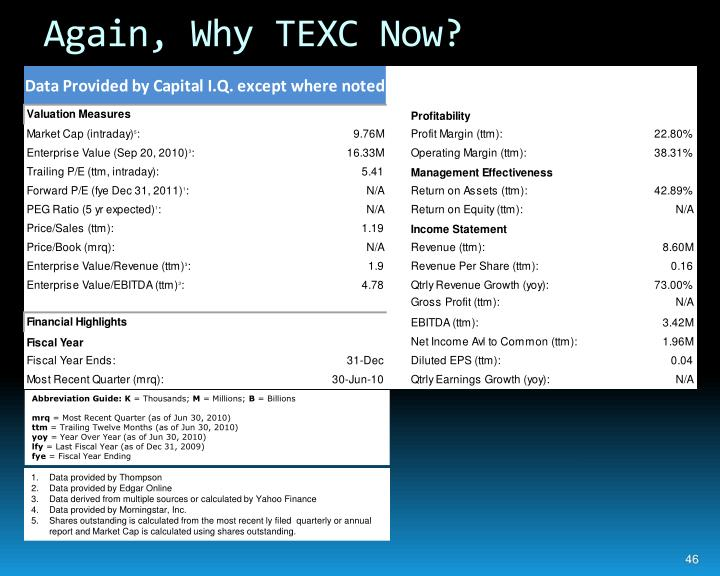 Again, Why TEXC Now?