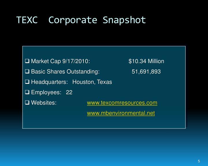 TEXC  Corporate Snapshot