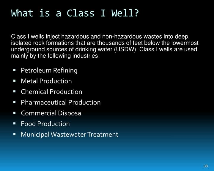 What is a Class I Well?