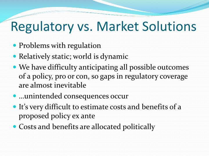 Regulatory vs. Market Solutions