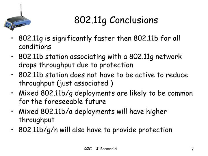 802.11g Conclusions