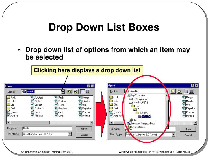 Drop Down List Boxes