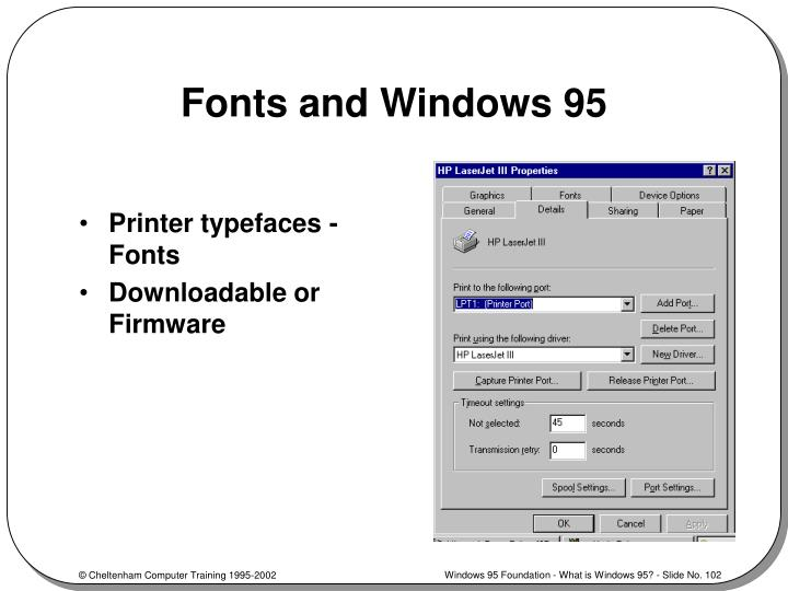 Fonts and Windows 95