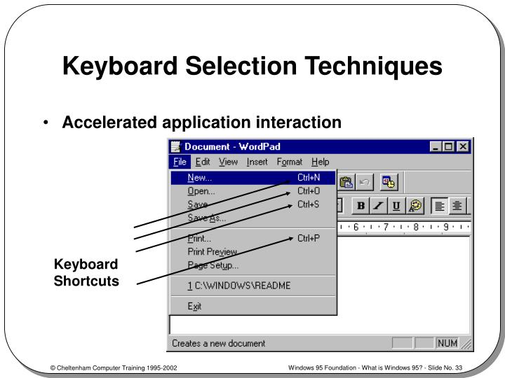 Keyboard Selection Techniques
