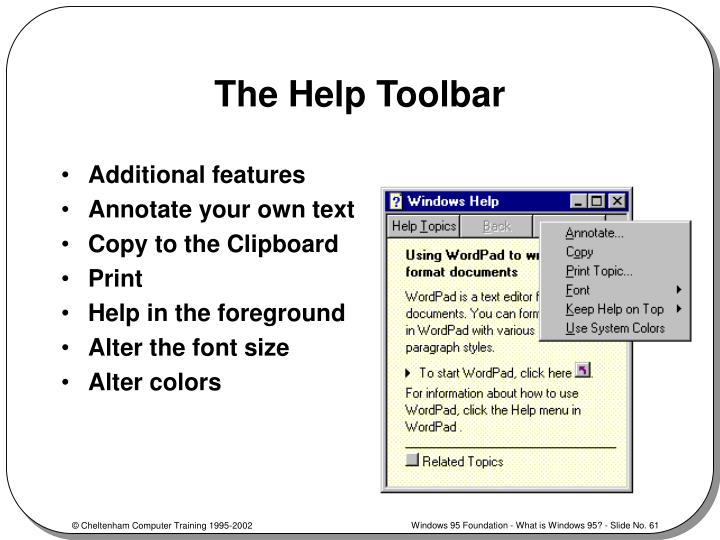 The Help Toolbar