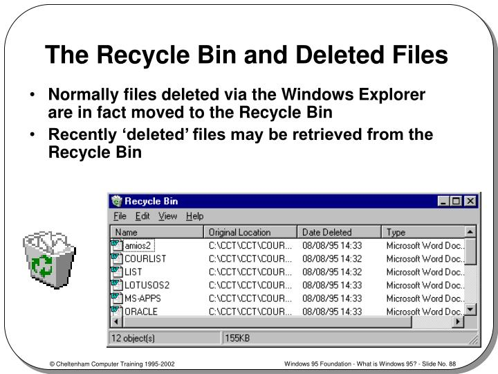 The Recycle Bin and Deleted Files