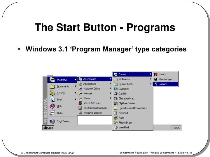 The Start Button - Programs