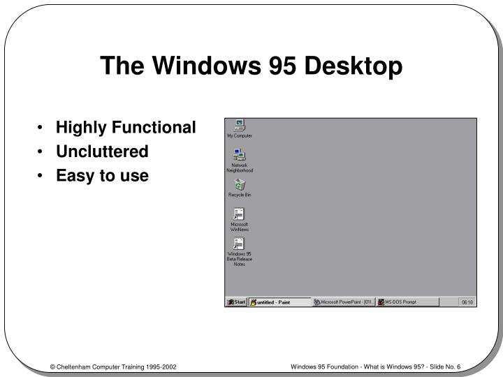 The Windows 95 Desktop