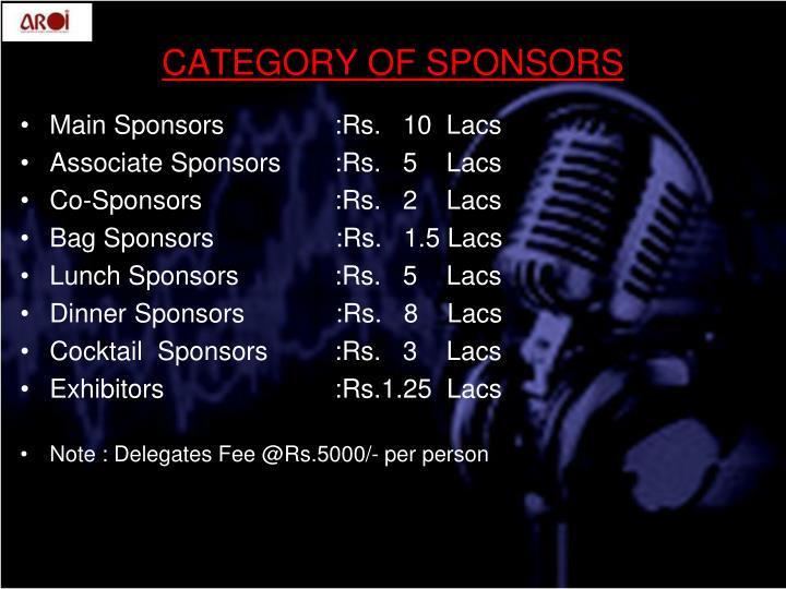 Main Sponsors :Rs.   10  Lacs