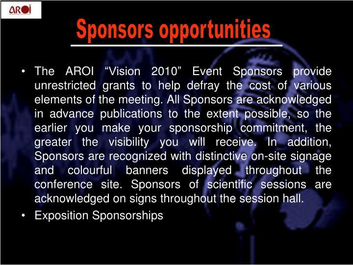 Sponsors opportunities